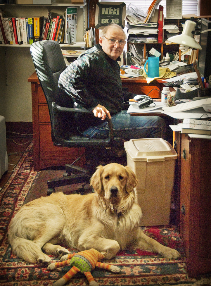 Daniel with Watson at his desk by Sally Wiener Grotta